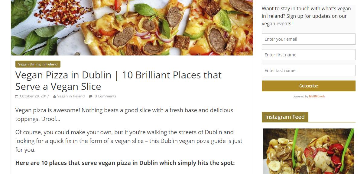 Vegan in Ire blog